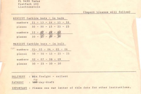 Primeira ordem de pedido feito pela Labordental à Edenta do ano de 1981